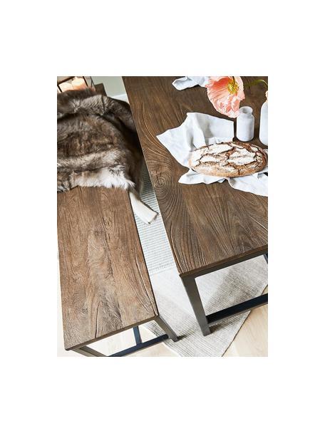 Sitzbank Raw aus massivem Mangoholz, Sitzfläche: Massives Mangoholz, gebür, Gestell: Metall, pulverbeschichtet, Mangoholz, 170 x 47 cm
