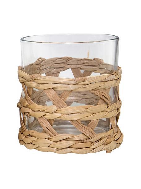 Wassergläser Osier mit stilvollem Grasgeflecht, 4 Stück, Dekor: Grasgeflecht, Transparent, Braun, Ø 9 x H 10 cm