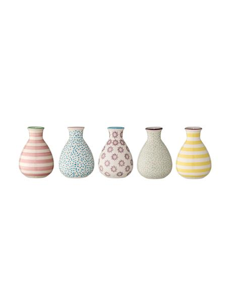 Kleines Vasen-Set Gab aus Steingut, 5-tlg., Steingut, Mehrfarbig, Ø 7 x H 11 cm