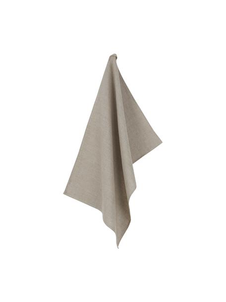 Linnen theedoek Heddie in beige, 100% linnen, Beige, 50 x 70 cm