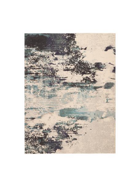 Designteppich Celestial in Blau-Creme, Flor: 100% Polypropylen, Elfenbeinfarben, Blautöne, B 240 x L 320 cm (Größe L)
