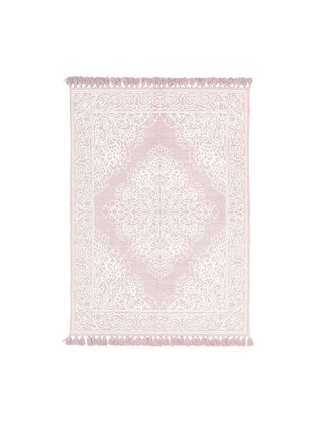 Gemusterter Baumwollteppich Salima mit Quasten, handgewebt, 100% Baumwolle, Rosa, Cremeweiß, B 120 x L 180 cm (Größe S)
