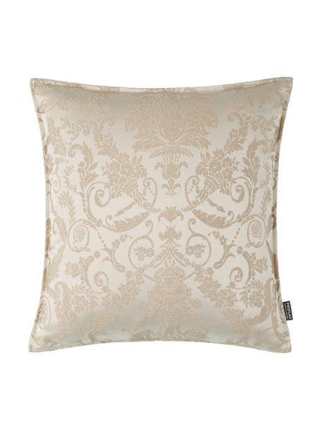 Glinsterende kussenhoes Astoria met ornament borduurwerk, 75% polyester, 25% katoen, Beige, 40 x 40 cm