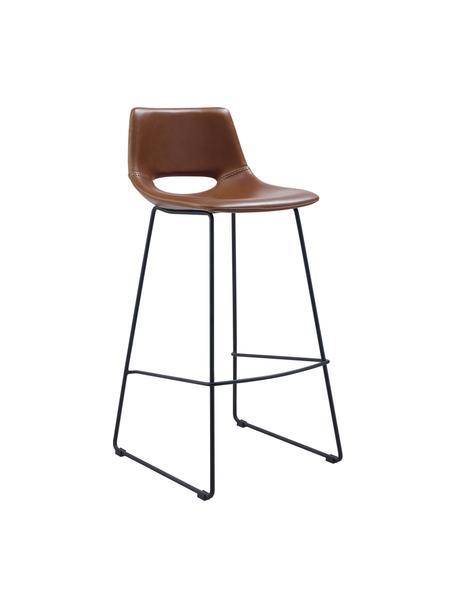 Kunstleder-Barstühle Zahara in Braun, 2 Stück, Sitzfläche: Kunstleder, Beine: Metall, lackiert, Braun, 47 x 98 cm