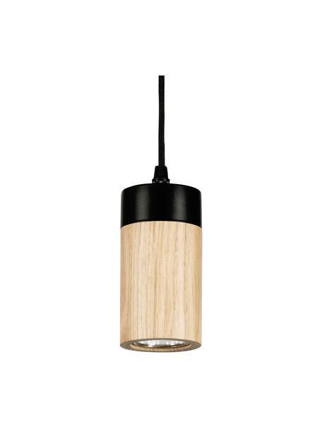 Kleine hanglamp Annick van hout, Lampenkap: eikenhout, geolied, metaa, Baldakijn: gecoat metaal, Zwart, beige, Ø 7 x H 14 cm