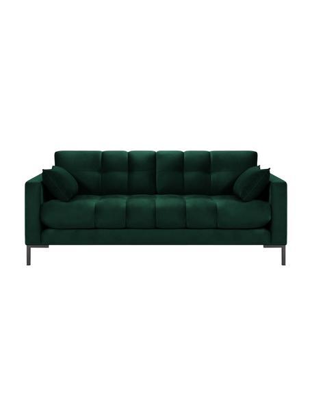 Sofá de terciopelo Mamaia (2plazas), Tapizado: terciopelo de poliéster A, Estructura: madera de pino maciza, ma, Patas: metal pintado, Verde profundo, An 177 x F 92 cm