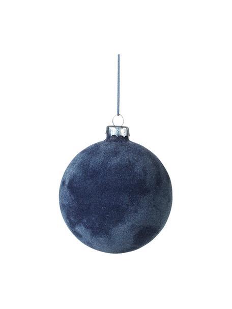 Kerstballen Alcan Ø10cm, 3stuks, Glas, polyesterfluweel, Donkerblauw, Ø 10 cm