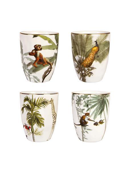 Bekersset Animaux met goudkleurige rand en tropische motieven, 4-delig, Porselein, Multicolour, Ø 8 x H 10 cm