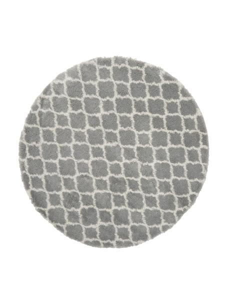 Alfombra redonda de pelo largo Mona, Parte superior: 100%polipropileno, Reverso: 78%yute, 14%algodón, 8%, Gris, blanco crema, Ø 150 cm (Tamaño M)