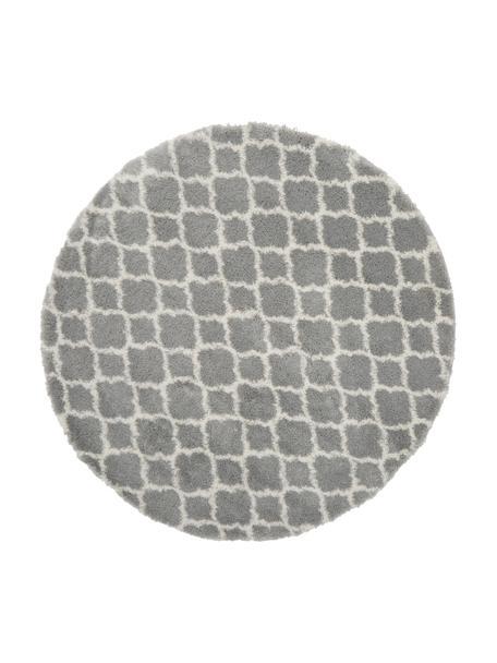 Hoogpolig vloerkleed Mona in grijs/crèmewit, Bovenzijde: 100% polypropyleen, Onderzijde: 78% jute, 14% katoen, 8% , Grijs, crèmewit, Ø 150 cm (maat M)
