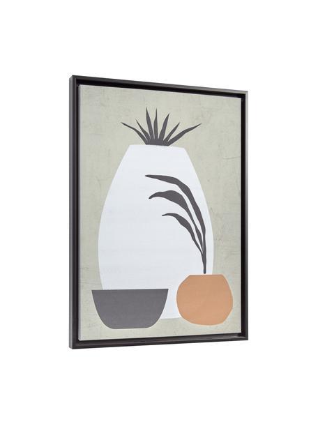 Ingelijste digitale print Bianey, Lijst: gecoat MDF, Afbeelding: canvas, Grijs, wit, oranje, beige, 50 x 70 cm
