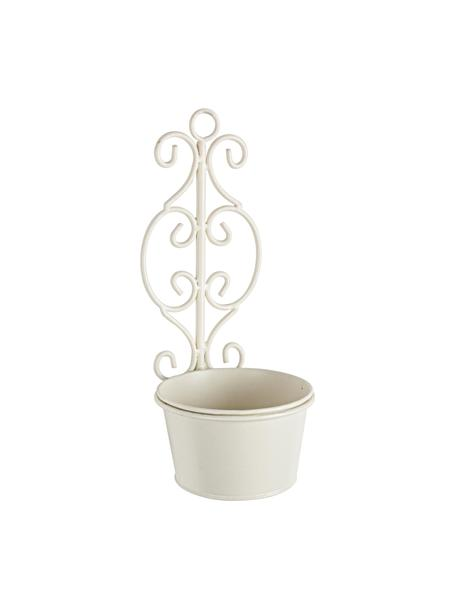 Macetero de pared pequeño Giselle, Acero inoxidable recubierto, Blanco crema, An 14 x Al 33 cm