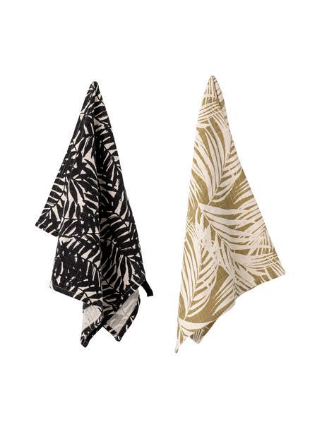 Set 2 strofinacci in cotone con motivo tropicale Ivora, 100% cotone, Multicolore, Larg. 45 x Lung. 70 cm