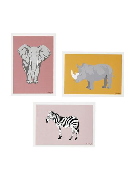 Posterset Tarangire, 3-delig, Papier, Multicolour, Set met verschillende formaten