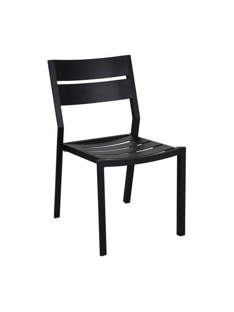 Sedia impilabile da giardino nera Delia, Alluminio verniciato a polvere, Nero, Larg. 48 x Prof. 55 cm