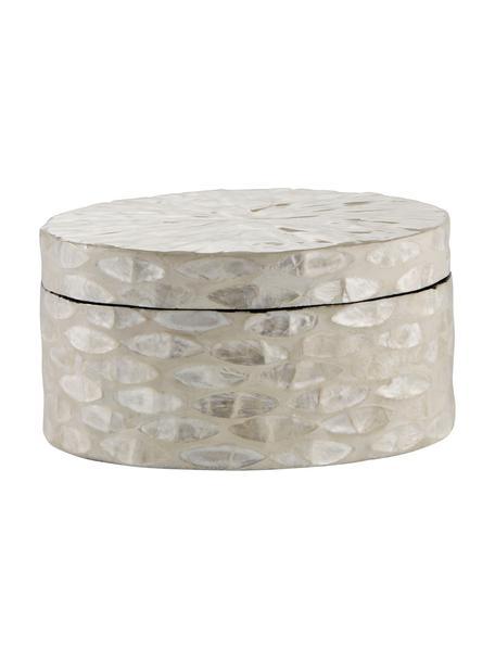 Contenitore con coperchio fatto a mano Cellia, Conchiglie Capiz, pannello di fibra a media densità (MDF), Beige, madreperla, Ø 16 x Alt. 8 cm