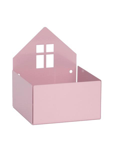 Pudełko do przechowywania Town House, Metal malowany proszkowo, Blady różowy, S 11 x W 13 cm