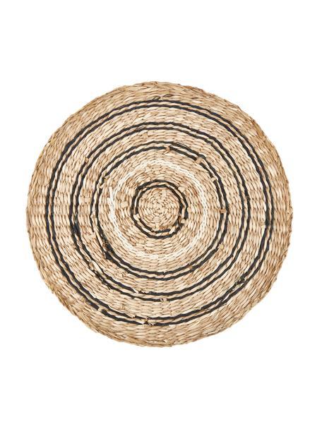 Ronde placemat van zeegras Kama, Zeegras, Beige, wit, zwart, Ø 38 cm