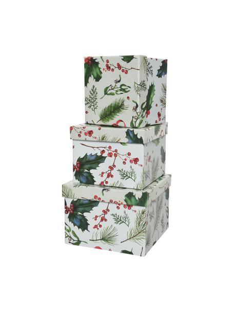 Set de cajas regalo Mistletoe, 3uds., Papel, Blanco, verde, rojo, Set de diferentes tamaños