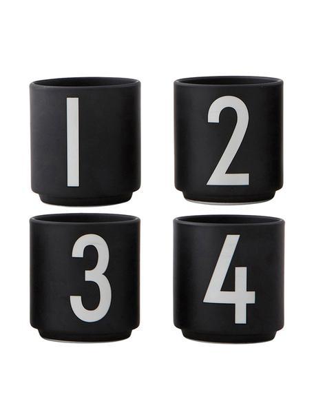 Design espressokopjesset 1234 met cijfers, 4-delig, Beenderporselein (Fine Bone China)Fine Bone China is een zacht porselein, dat zich vooral onderscheidt door zijn briljante, doorschijnende glans., Zwart, wit, Ø 5 x H 6 cm