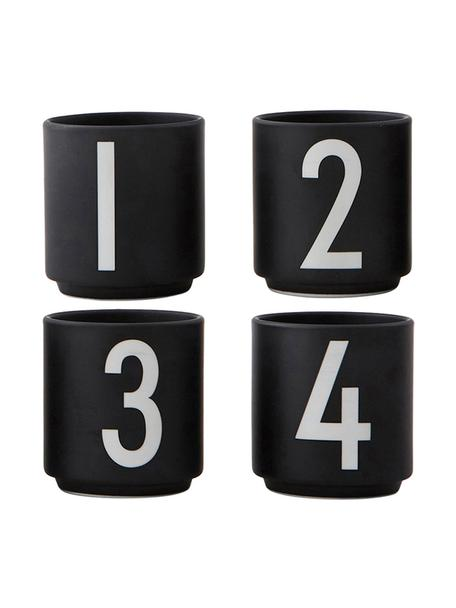 Tazas originales de diseño 1234, 4uds., Porcelana fina de hueso (porcelana) Fine Bone China es una pasta de porcelana fosfática que se caracteriza por su brillo radiante y translúcido., Negro, blanco, Ø 5 x Al 6 cm