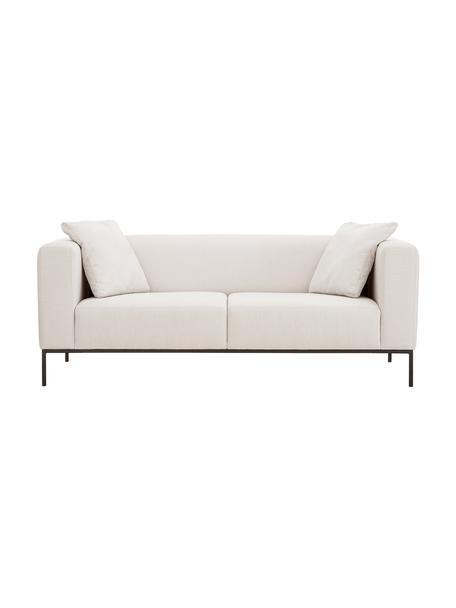 Sofa Carrie (3-Sitzer) in Beige mit Metall-Füssen, Bezug: Polyester 50.000 Scheuert, Gestell: Spanholz, Hartfaserplatte, Webstoff Beige, B 202 x T 86 cm