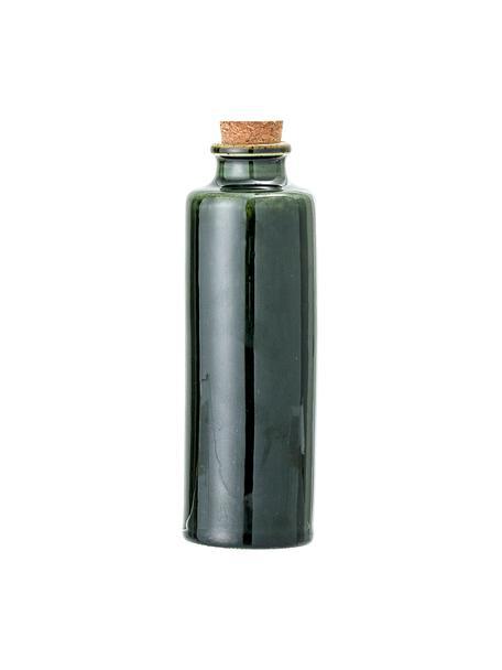 Bottiglia ermetica olio e aceto fatta a mano Joelle, Contenitore: terracotta, Coperchio: sughero, Verde scuro, Ø 6 x Alt. 18 cm