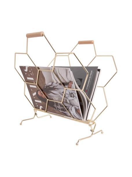 Stojak na czasopisma Honeycomb, Odcienie mosiądzu, drewno naturalne, S 40 x W 45 cm