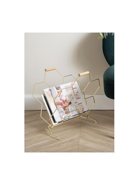 Tijdschriftenhouder Honeycomb, Handvatten: hout, Messingkleurig, houtkleurig, 40 x 45 cm