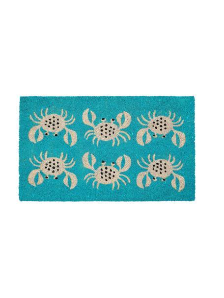 Fußmatte Krabben, Oberseite: Kokosfaser, Unterseite: Vinyl, Türkis, Beige, Schwarz, 45 x 75 cm