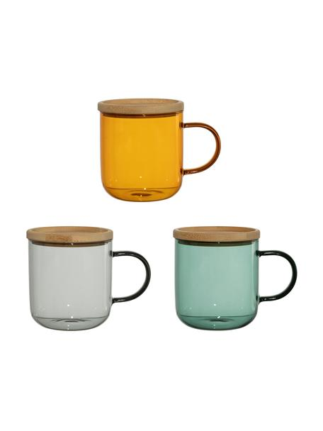 Glas-Teetassen Dilacia in Bunt mit Untertassen/Deckel, 3 Stück, Mehrfarbig, Ø 8 x H 9 cm