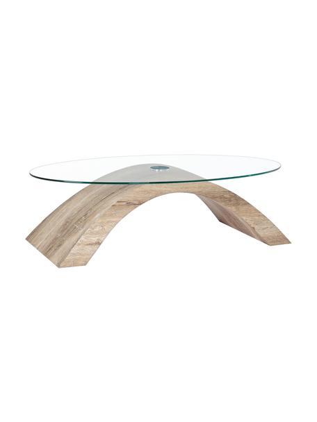 Tavolino da salotto Kenya, Struttura: pannello di fibra a media, Trasparente, marrone, Larg. 110 x Prof. 60 cm