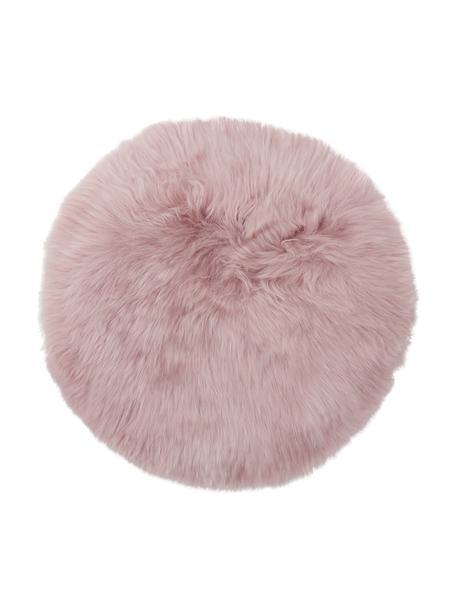 Cuscino sedia in pelliccia di pecora Oslo, Retro: 100% pelle, rivestito sen, Rosa, Ø 37 cm