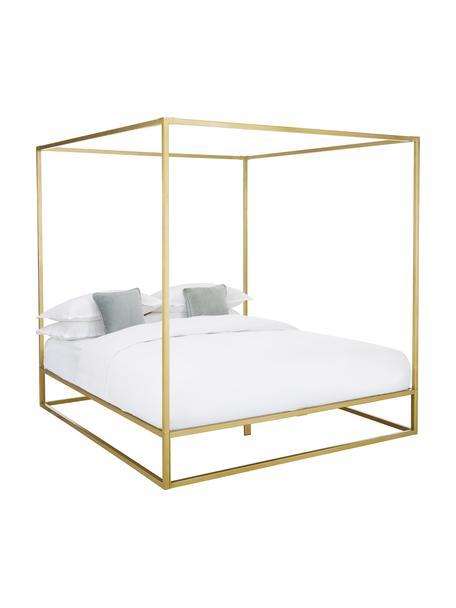 Łóżko z baldachimem z metalu Belle, Metal mosiądzowany, Odcienie złotego, matowy, S 180 x D 200 cm