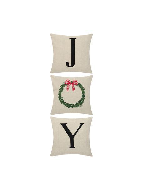 Set 3 federe arredo con stampa natalizia Joy, Cotone, Beige, nero, Larg. 40 x Lung. 40 cm