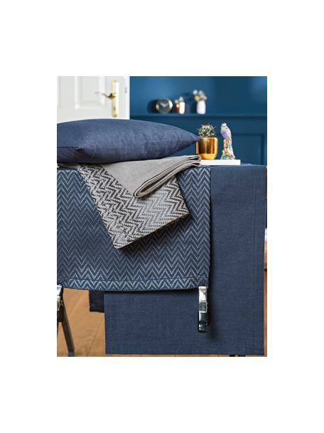 Tischläufer Riva aus Baumwollgemisch in Dunkelblau, 55%Baumwolle, 45%Polyester, Dunkelblau, 40 x 150 cm