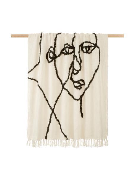 Manta de algodón Face, 100%algodón, Marfil, negro, An 130 x L 170