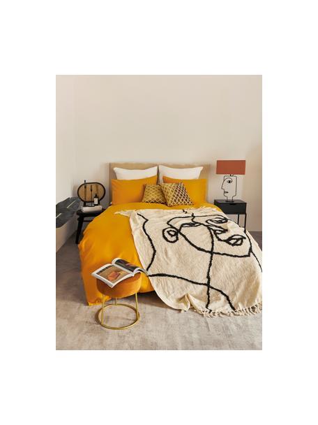 Katoenen plaid Face met getuft abstract patroon, 100% katoen, Ivoorkleurig, zwart, 130 x 170 cm