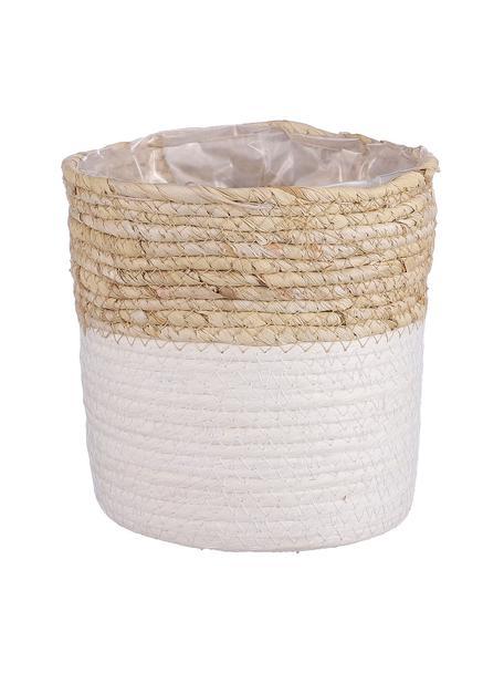 Macetero Rachel, con bolsa de plástico, Hojas de maíz, Beige, blanco, Ø 18 x Al 18 cm