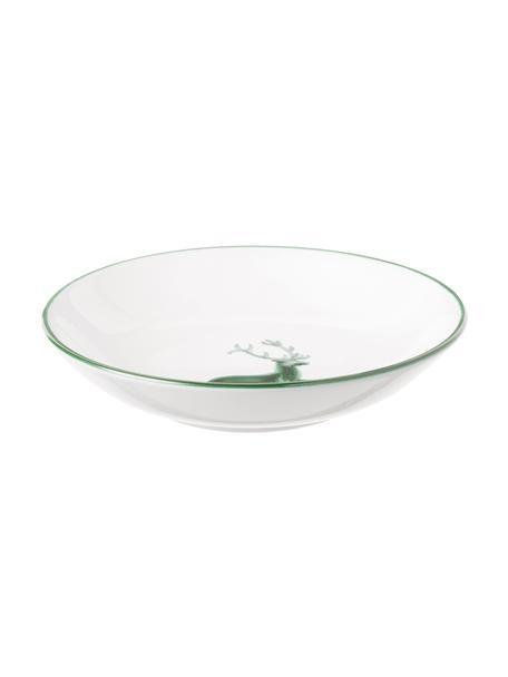 Ręcznie malowany talerz głęboki Classic Grüner Hirsch, Ceramika, Biały, Ø 20 cm