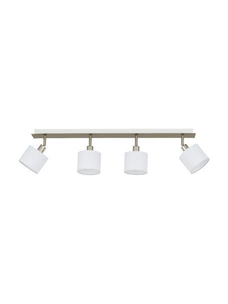 Faretti da soffitto Casper, Baldacchino: metallo nichelato, Paralume: tessuto, Argento, bianco, Larg. 78 x Alt. 7 cm