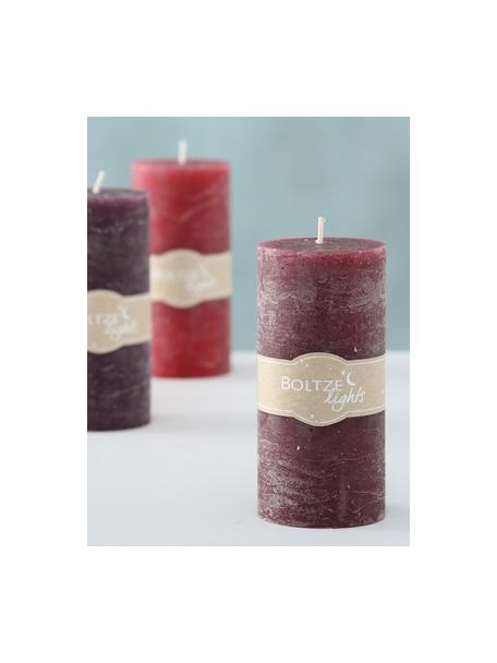Set 3 candele pilastro Trent, Cera, Tonalità rosse, Ø 7 x Alt. 15 cm