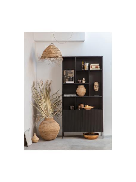 Libreria nera Gravure, Piedini: metallo verniciato, Ripiani: compensato laminato, Nero, Larg. 100 x Alt. 200 cm