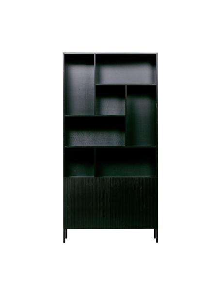 Zwart wandrek Gravure met opbergruimte, Frame: massief grenenhout, gelak, Poten: gelakt metaal, Zwart, 100 x 200 cm
