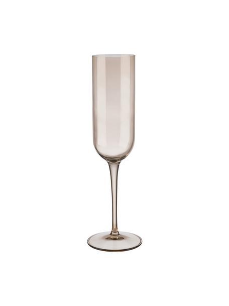 Copas flauta de champán Fuum, 4uds., Vidrio, Beige transparente, Ø 7 x Al 24 cm