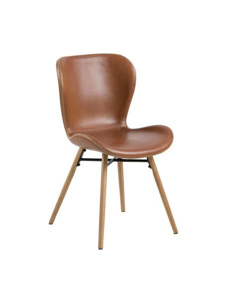 Krzesło tapicerowane ze sztucznej skóry Batilda, 2 szt., Tapicerka: sztuczna skóra (poliureta, Nogi: drewno dębowe, olejowany, Koniakowy, drewno dębowe, S 56 x G 47 cm