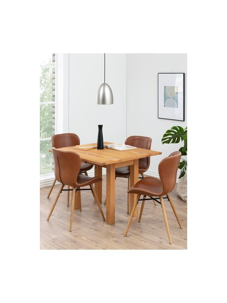 Krzesło tapicerowane ze sztucznej skóry Batilda, 2 szt., Tapicerka: sztuczna skóra (poliureta, Nogi: drewno dębowe, olejowane, Koniakowy, S 56 x G 47 cm