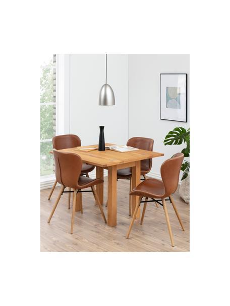 Kunstleren stoelen Batilda, 2 stuks, Bekleding: polyurethaan (kunstleer), Poten: geolied eikenhout, Kunstleer cognackleurig, eikenhout, B 56 x D 47 cm