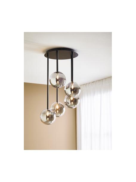 Hanglamp Universe van gespiegeld glas, Lampenkap: glas, Baldakijn: gecoat metaal, Zwart, Ø 40 x H 68 cm