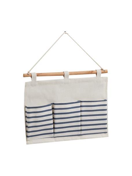 Hängender Schrank-Organizer Stripes mit 3 Fächern, Organizer: 20% Polyester, 80% Baumwo, Stange: Holz, Weiß, Blau, 35 x 26 cm